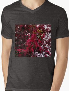 Crimson Tree Blossoms Mens V-Neck T-Shirt