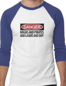 Ninjas and Pirates and Lasers, Oh My! Men's Baseball ¾ T-Shirt