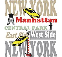 New York Manhattan destination sign illustration Photographic Print