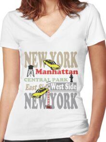 New York Manhattan destination sign illustration Women's Fitted V-Neck T-Shirt