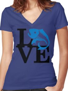 Water Field Study Love (fcb) Women's Fitted V-Neck T-Shirt