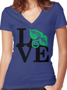 Plants Field Study Love (fcb) Women's Fitted V-Neck T-Shirt