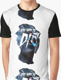 """Vaporwave """"I Just Want To DIE"""" Graphic T-Shirt"""