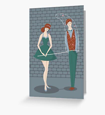 Retro couple  Greeting Card