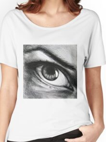 Looking eyes, graphite crayon on paper Women's Relaxed Fit T-Shirt