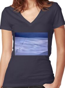 The lonely skier of Parnassus mountain Women's Fitted V-Neck T-Shirt