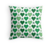 Irish Hearts and Fleur de Lis Pattern Throw Pillow