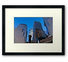 Manhattan Blue Hour - Skyscrapers from the Hudson River Esplanade Framed Print
