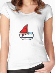 Cute sailing boat Women's Fitted Scoop T-Shirt