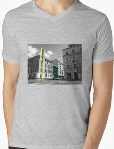 Prague Scene Mens V-Neck T-Shirt