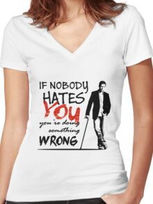 Dr House - If Nobody Hates You... Women's Fitted V-Neck T-Shirt
