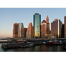 Just Before Sunrise - Manhattan Skyline and South Street Seaport Historic Ships Photographic Print