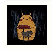 Totoro and Pikachu Art Print