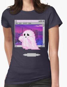 Pink Ghost Vaporwave Aesthetics Womens Fitted T-Shirt