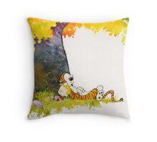 Calvin and Hobbes sleeping under tree Throw Pillow