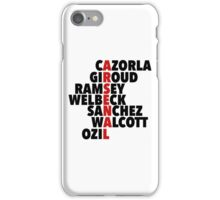 Arsenal spelt using player names iPhone Case/Skin