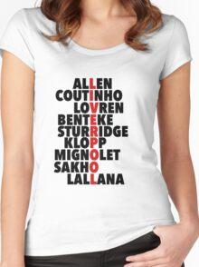 Liverpool spelt using player names Women's Fitted Scoop T-Shirt