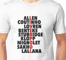 Liverpool spelt using player names Unisex T-Shirt