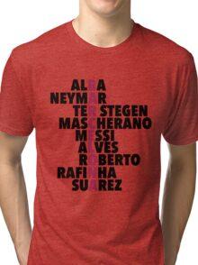 Barcelona spelt using player names Tri-blend T-Shirt
