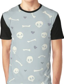 Cartoon Skulls with Hearts on Light Blue Background Seamless Pattern  Graphic T-Shirt