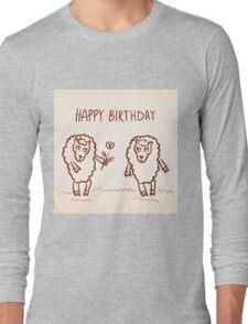 Sheep happy birthday card Long Sleeve T-Shirt