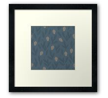 Floral blue seamless pattern with yellow tulips Framed Print