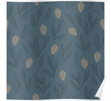 Floral blue seamless pattern with yellow tulips Poster