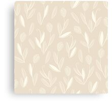 Clear floral white on beige seamless pattern Canvas Print