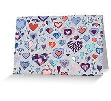 Heart pattern - Pink and Blue Greeting Card