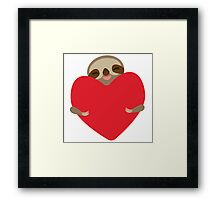 Funny sloth with heart Framed Print