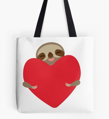Funny sloth with heart Tote Bag