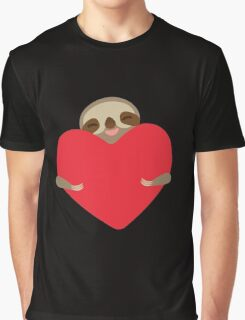 Funny sloth with heart Graphic T-Shirt