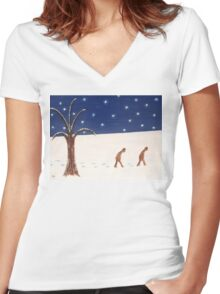 GOING HOME THROUGH THE SNOW Women's Fitted V-Neck T-Shirt