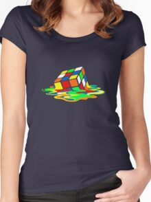 Big Bang Theory Sheldon Cooper Melting Rubik's Cube cool geek Women's Fitted Scoop T-Shirt