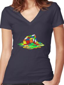 Big Bang Theory Sheldon Cooper Melting Rubik's Cube cool geek Women's Fitted V-Neck T-Shirt