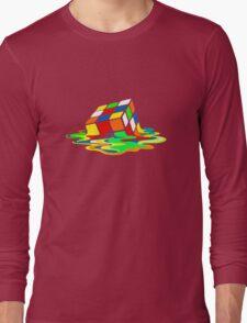 Big Bang Theory Sheldon Cooper Melting Rubik's Cube cool geek Long Sleeve T-Shirt