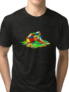 Big Bang Theory Sheldon Cooper Melting Rubik's Cube cool geek Tri-blend T-Shirt