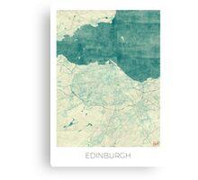 Edinburgh Map Blue Vintage Canvas Print