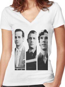 Sherlock - Jim Moriarty, John Watson, Sherlock Holmes Women's Fitted V-Neck T-Shirt