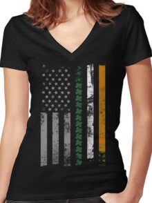 Irish Shamrocks St. Patricks Day Women's Fitted V-Neck T-Shirt