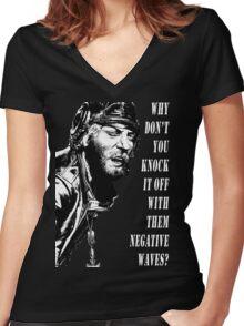 Oddball Says - black & white Women's Fitted V-Neck T-Shirt