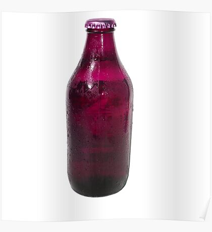 Isolated Mauve Beer Bottle Poster