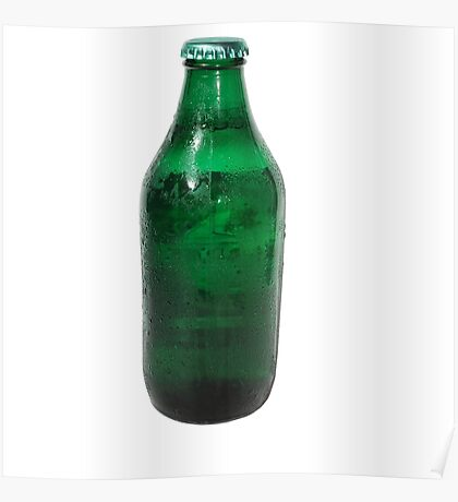 Isolated Green Beer Bottle Poster