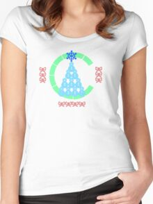 Snowman Christmas Tree Women's Fitted Scoop T-Shirt
