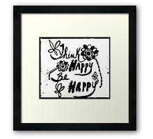 Rachel Doodle Art - Think Happy Be Happy Framed Print