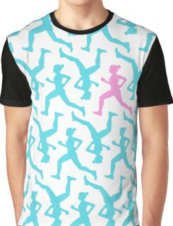 Running Girl Pastel Pattern Graphic T-Shirt