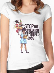 Stop The Devaluation of Feminized Jobs. Women's Fitted Scoop T-Shirt