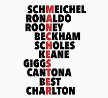 LEGENDS: Manchester spelt with player names Unisex T-Shirt
