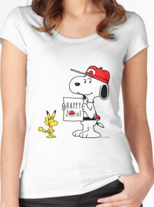 Pokemon 20th featuring Snoopy and Woodstock Women's Fitted Scoop T-Shirt