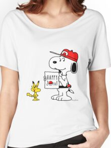 Pokemon 20th featuring Snoopy and Woodstock Women's Relaxed Fit T-Shirt